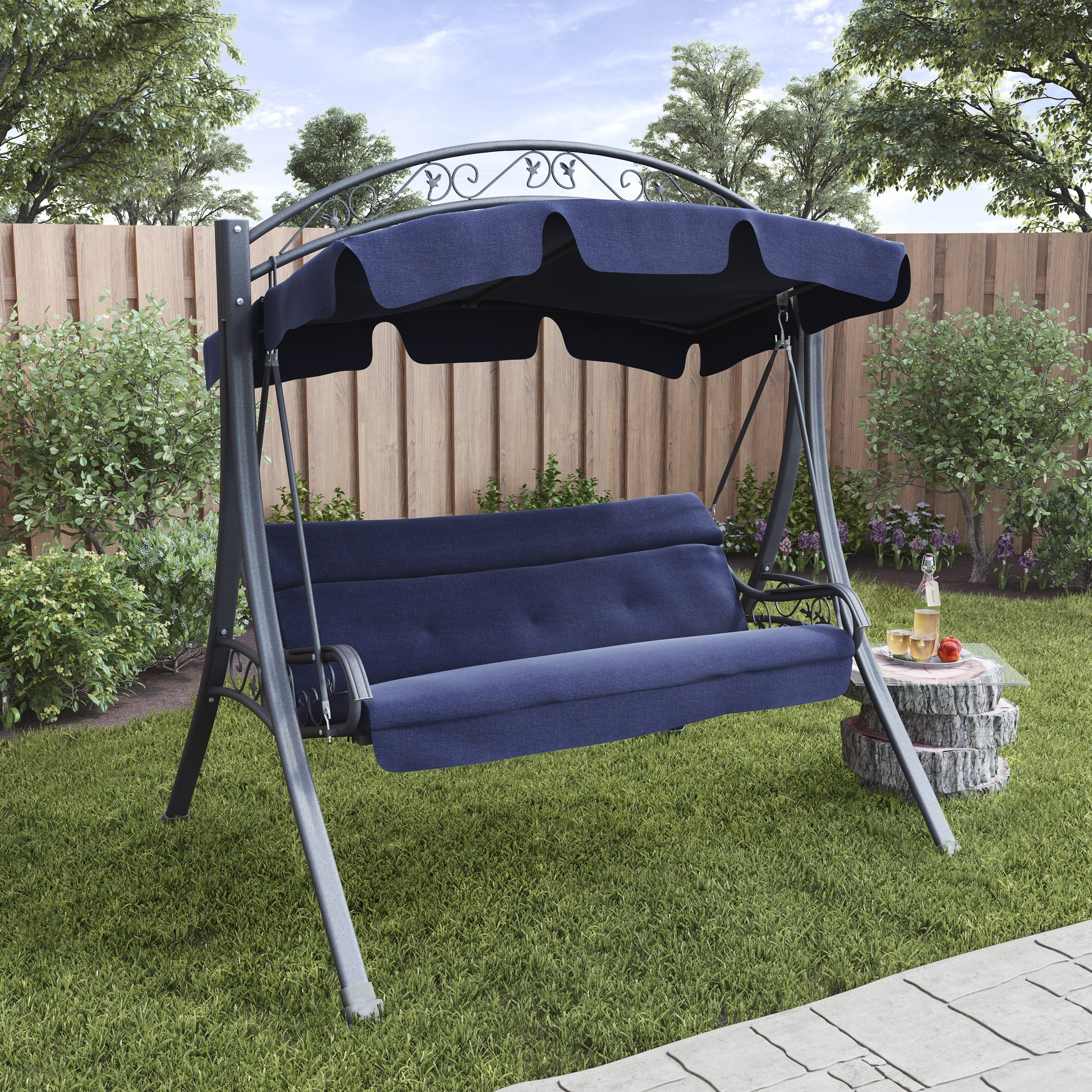 Corliving Nantucket Patio Swing With Arched Canopy For Canopy Patio Porch Swings With Pillows And Cup Holders (View 22 of 25)