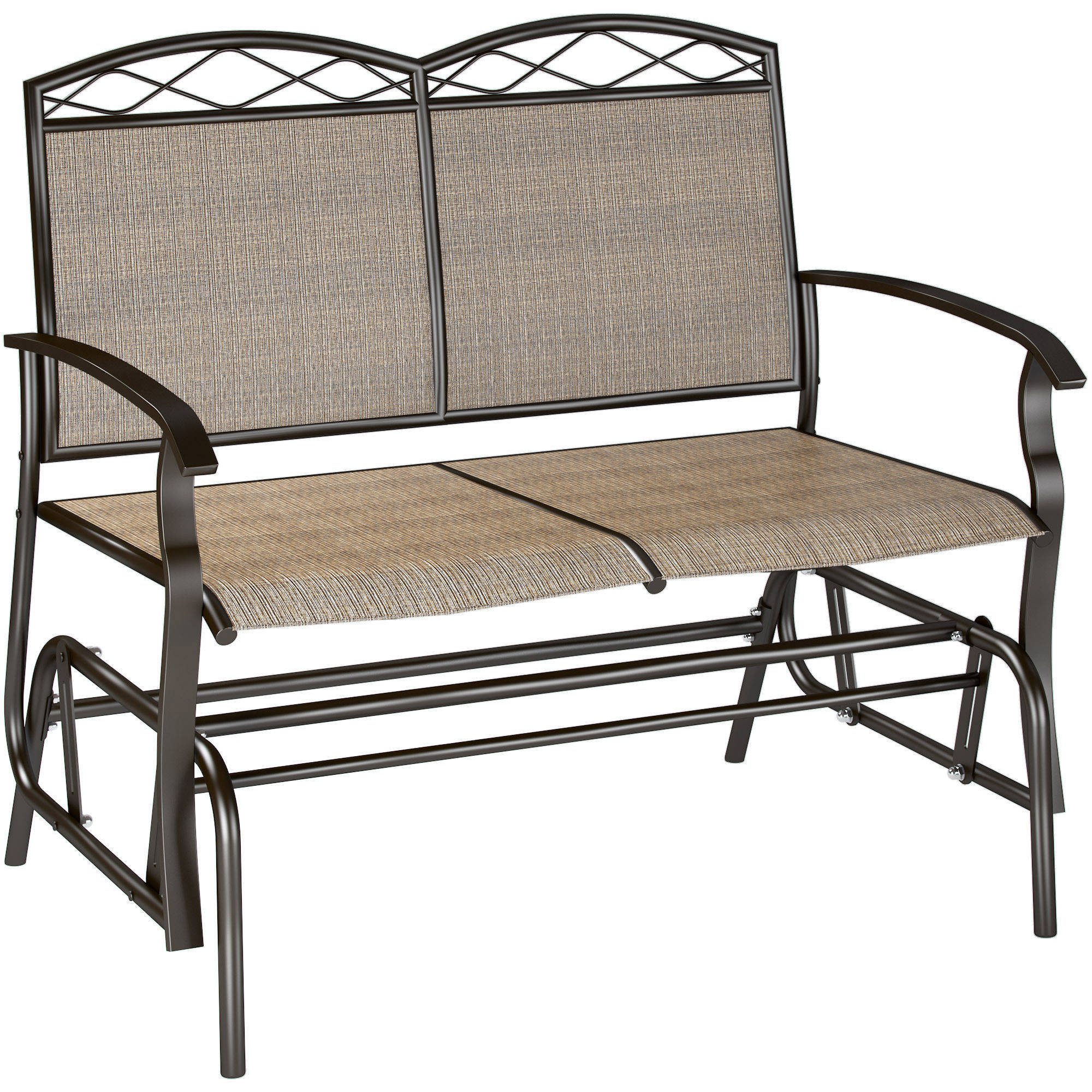 Corliving Speckled Brown Patio Double Glider – Walmart Intended For Metal Powder Coat Double Seat Glider Benches (View 5 of 25)