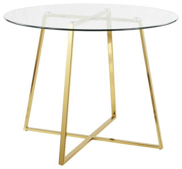 Cosmo Contemporary/glam Dining Table, Gold Metal And Clear Tempered Glass With Regard To Modern Gold Dining Tables With Clear Glass (View 7 of 26)