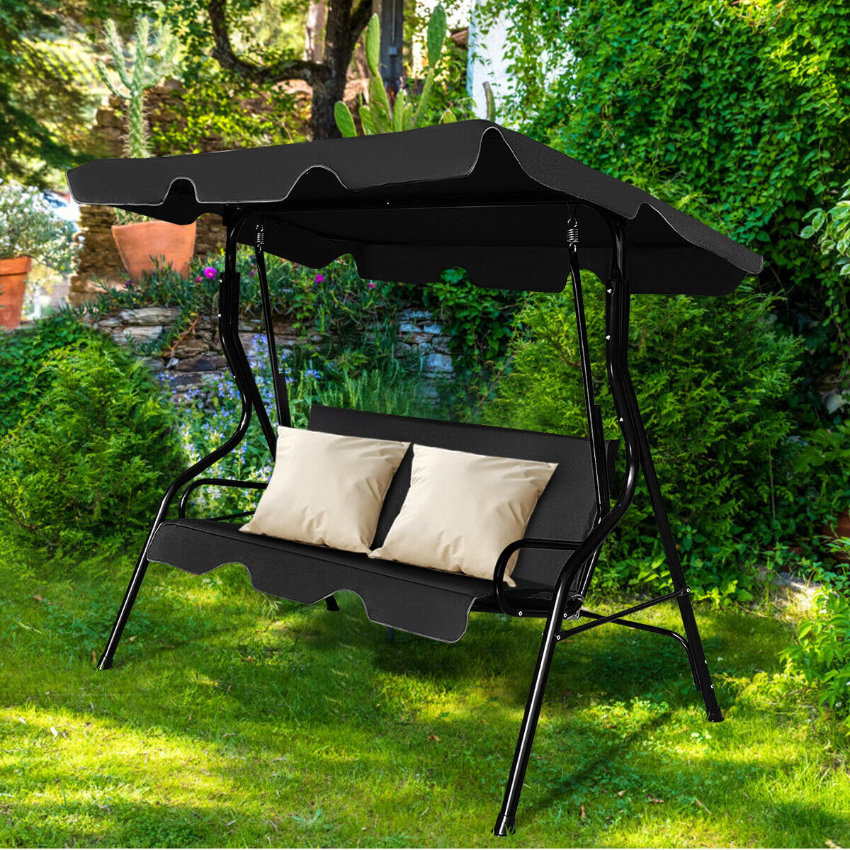 Costway 3 Seats Patio Canopy Swing Glider Hammock Cushioned Inside 3 Seats Patio Canopy Swing Gliders Hammock Cushioned Steel Frame (Image 6 of 25)