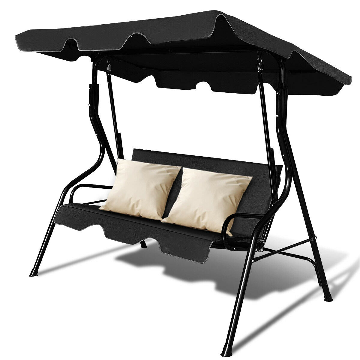 Costway 3 Seats Patio Canopy Swing Glider Hammock Cushioned Steel Frame Backyar Black – Walmart Within 2 Person Outdoor Convertible Canopy Swing Gliders With Removable Cushions Beige (View 17 of 25)