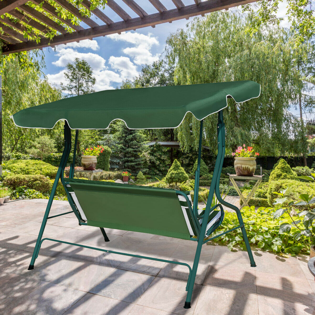 Costway 3 Seats Patio Canopy Swing Glider Hammock Cushioned Steel Frame  Backyar Green Within 3 Seats Patio Canopy Swing Gliders Hammock Cushioned Steel Frame (Image 12 of 25)