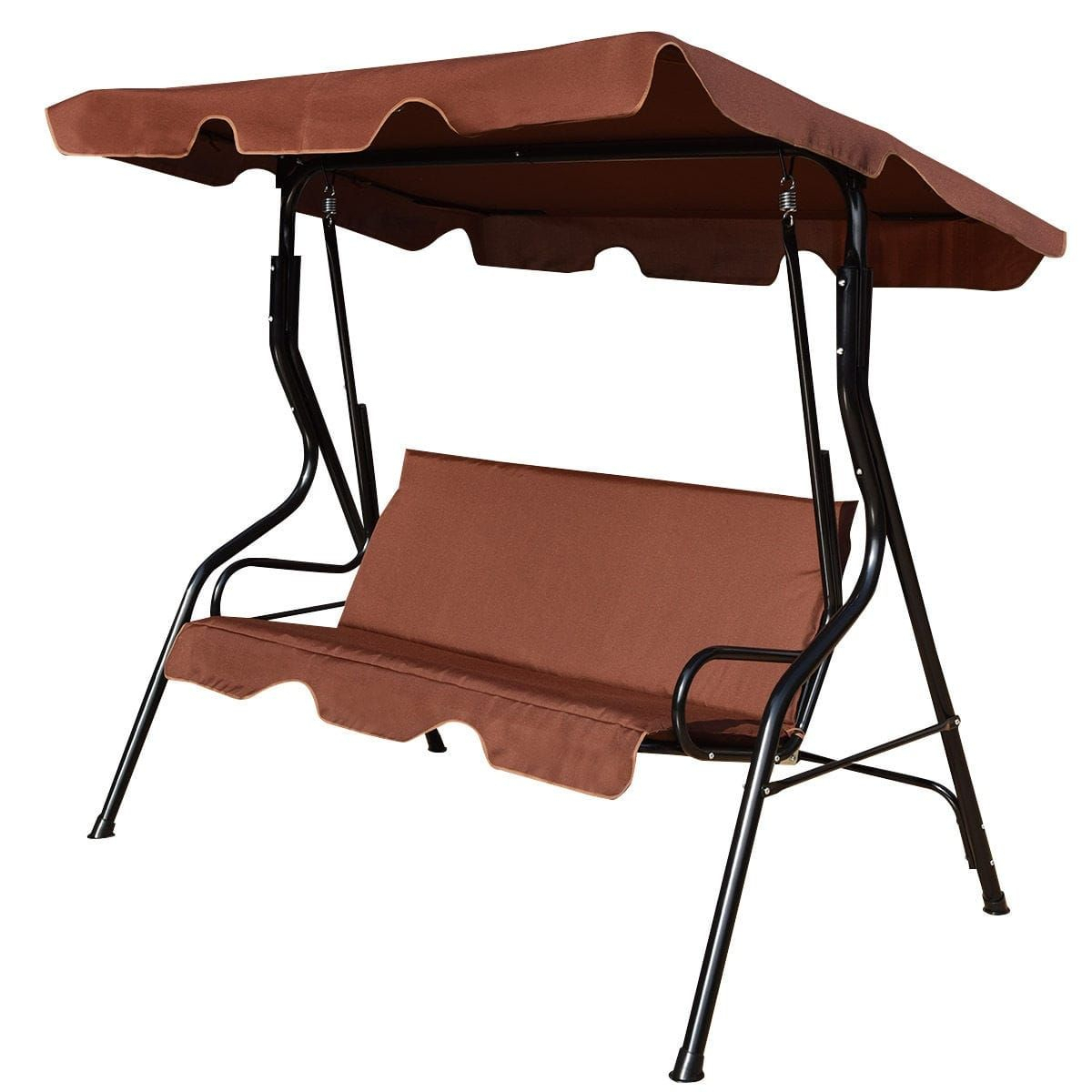 Featured Image of 3 Seats Patio Canopy Swing Gliders Hammock Cushioned Steel Frame