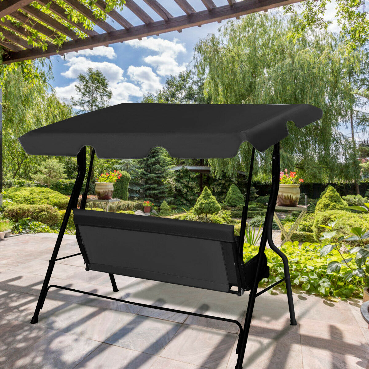 Costway 3 Seats Patio Canopy Swing Glider Hammock Cushioned Within 3 Seats Patio Canopy Swing Gliders Hammock Cushioned Steel Frame (Image 16 of 25)