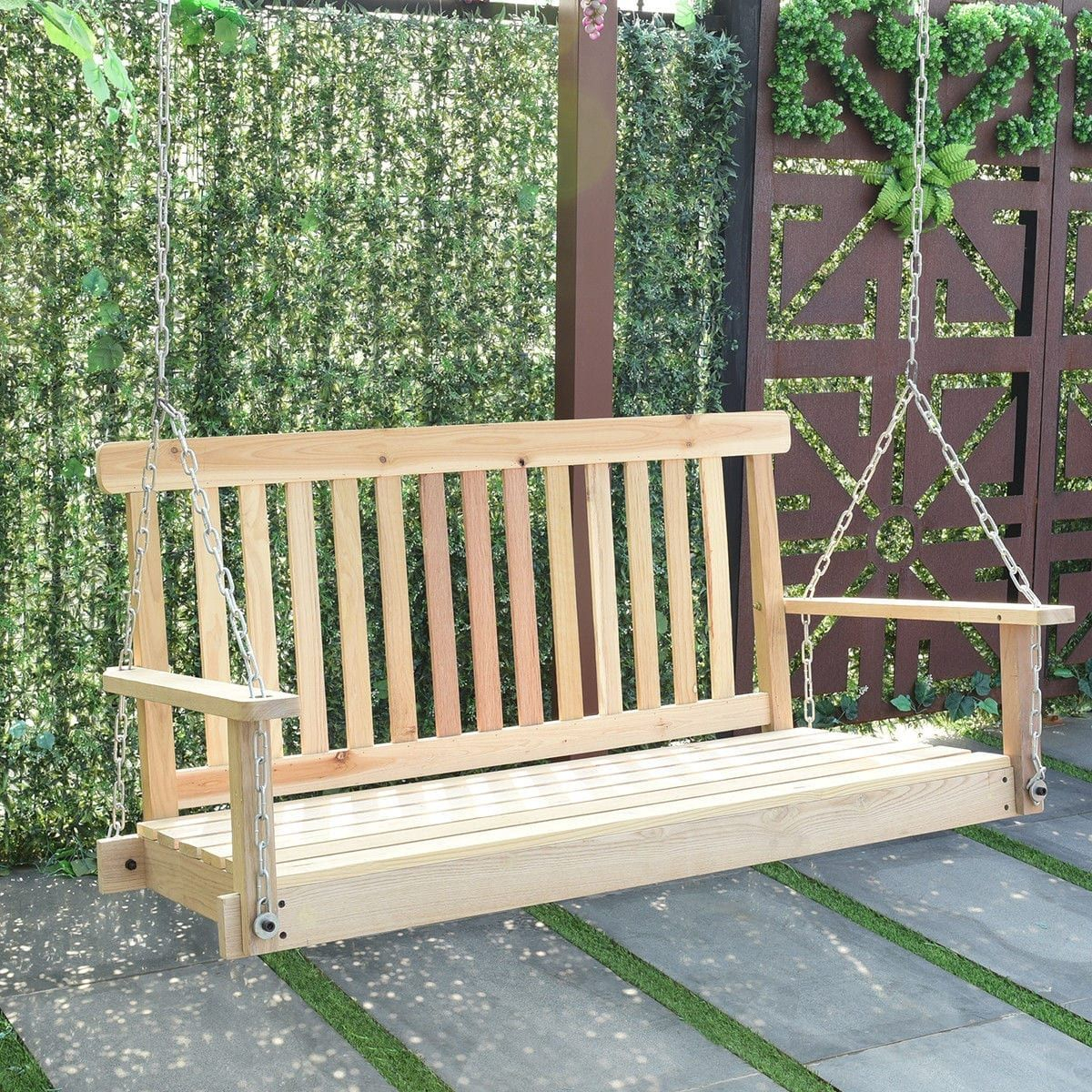 Costway 4 Ft Porch Swing Natural Wood Garden Swing Bench With Fordyce Porch Swings (View 21 of 25)