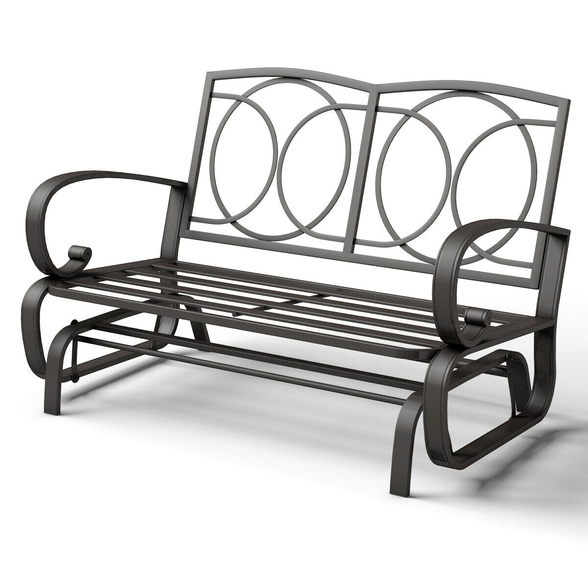 Costway Glider Outdoor Patio Rocking Bench Loveseat For Black Steel Patio Swing Glider Benches Powder Coated (Image 6 of 25)