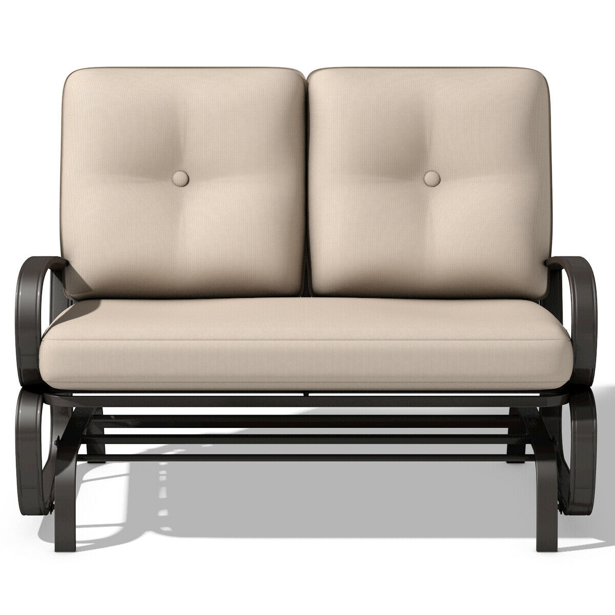 Costway Glider Outdoor Patio Rocking Bench Loveseat Within Outdoor Loveseat Gliders With Cushion (View 22 of 25)