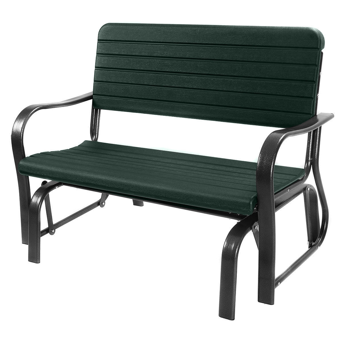 Costway Outdoor Patio Swing Porch Rocker Glider Bench Loveseat Garden Seat Steel Inside Rocking Love Seats Glider Swing Benches With Sturdy Frame (View 8 of 25)