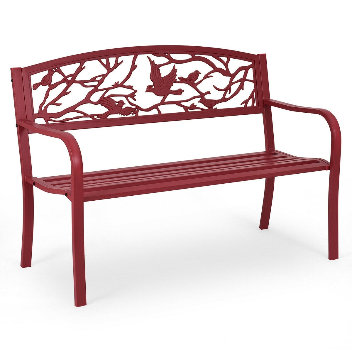 Costway Patio Garden Bench Park Yard Outdoor Furniture Cast Iron Porch Chair Red With Iron Grove Slatted Glider Benches (View 22 of 26)