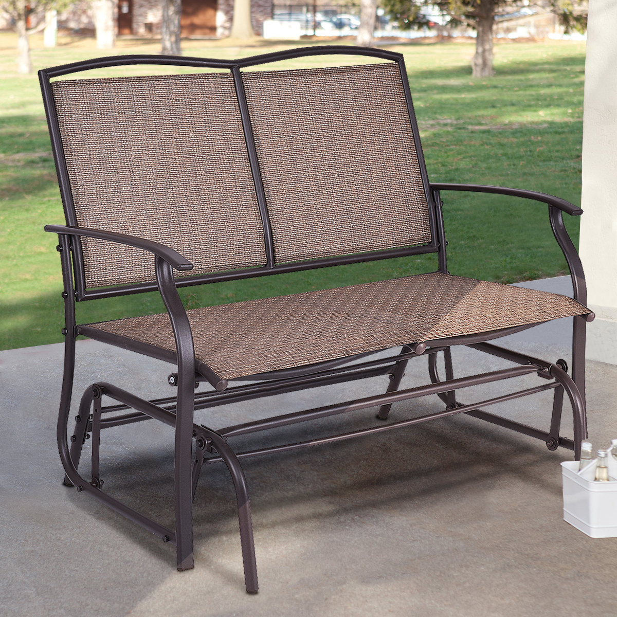 Costway Patio Glider Rocking Bench Double 2 Person Chair Loveseat Armchair  Backyard – Walmart Inside Iron Double Patio Glider Benches (Image 5 of 25)