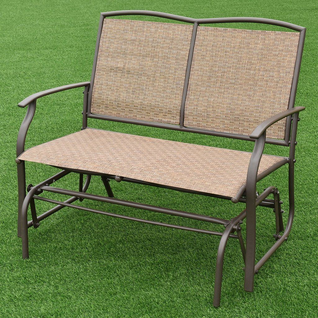 Costway Patio Glider Rocking Bench Double 2 Person Chair Pertaining To Rocking Glider Benches (View 11 of 25)