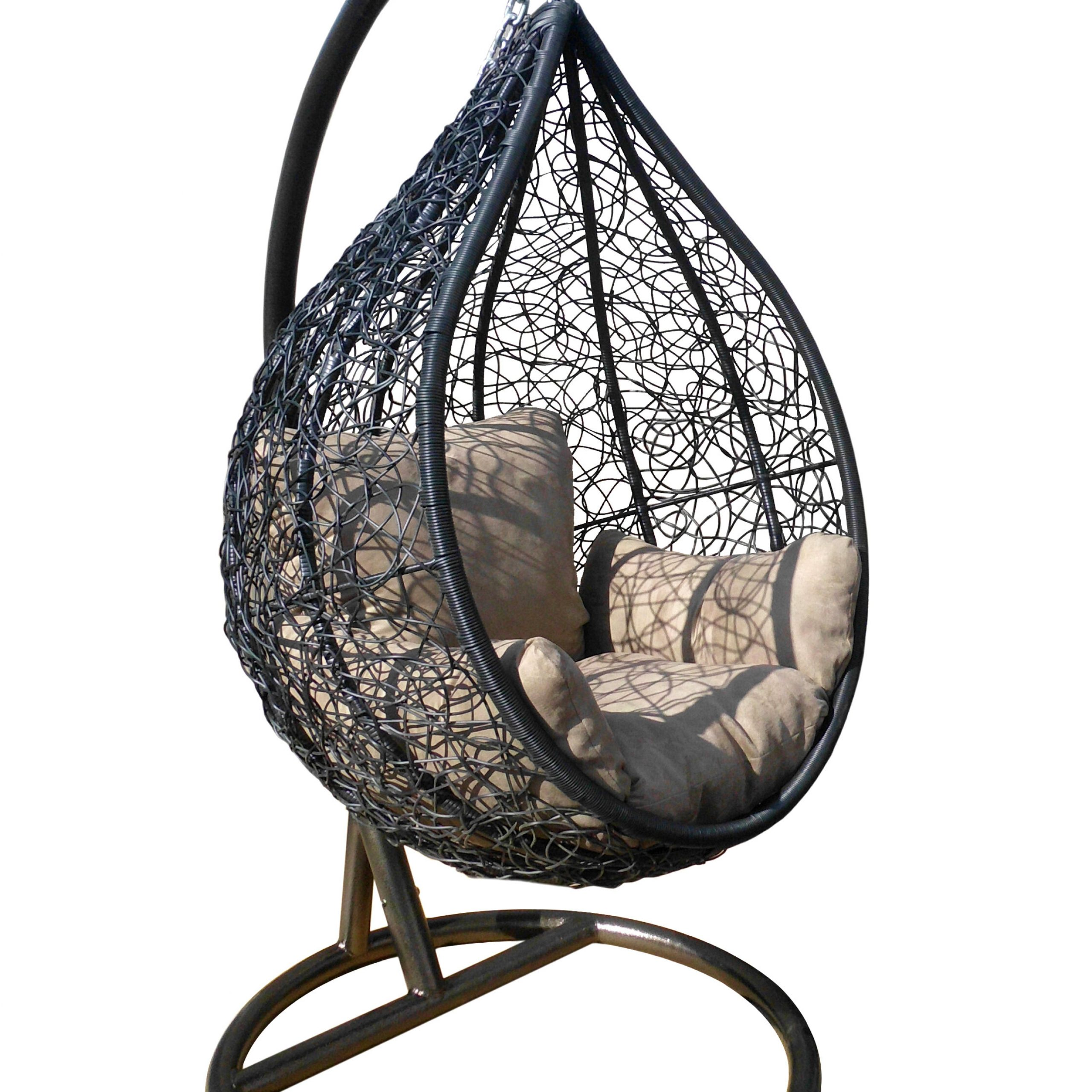 Cothern Patio Egg Porch Swing With Stand With Regard To Outdoor Wicker Plastic Half Moon Leaf Shape Porch Swings (View 15 of 25)