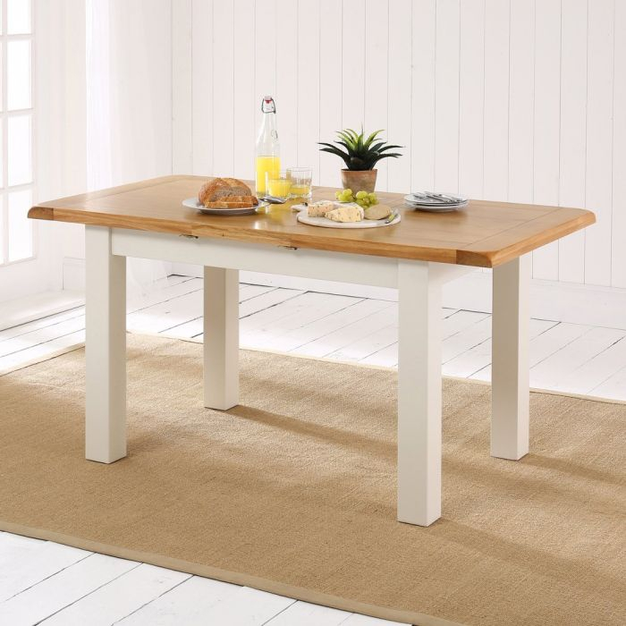 Cotswold Country Cream Painted Small Extending Dining Table + Oak Top For Extension Dining Tables (View 16 of 25)