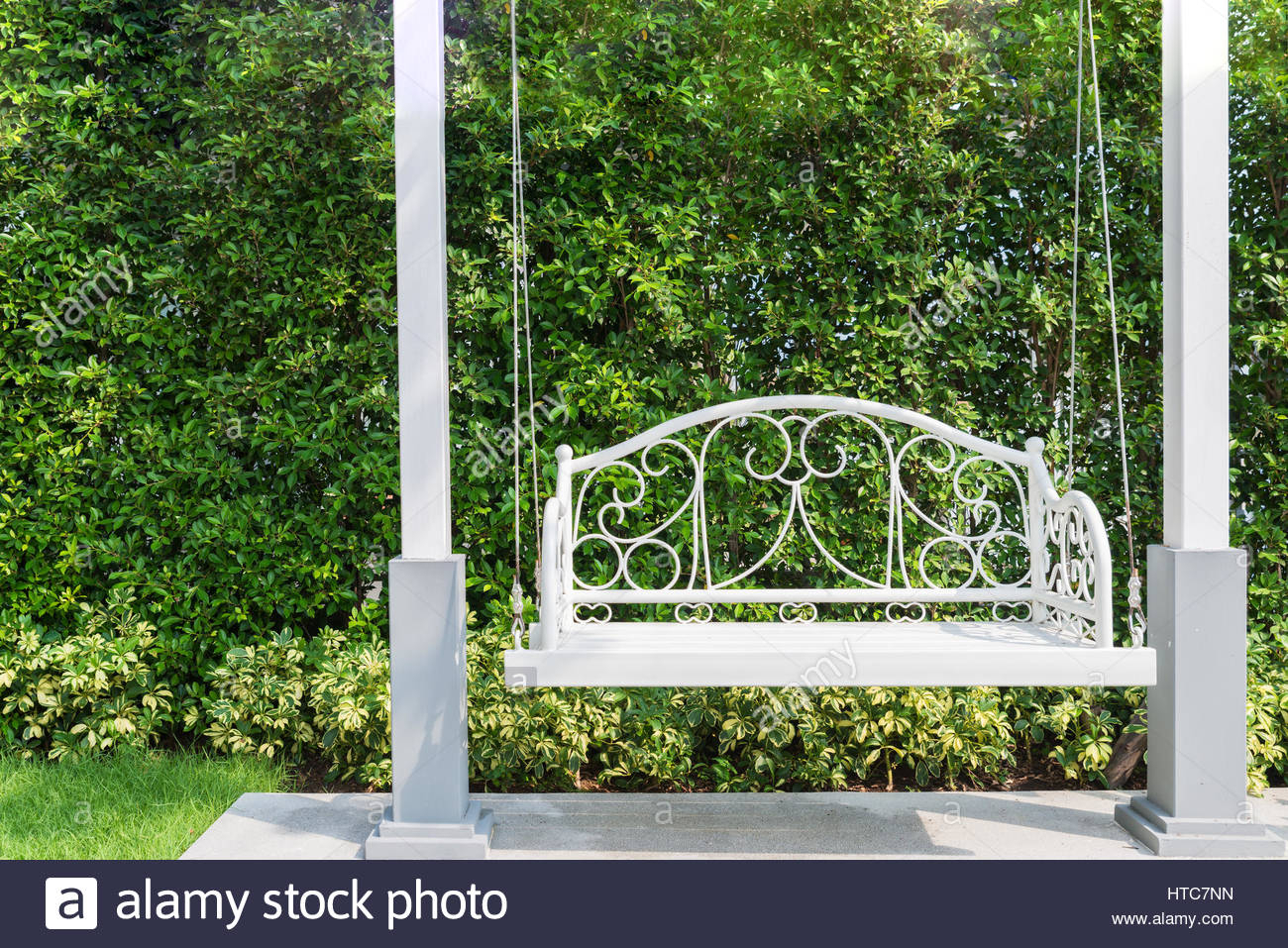 Country House Wooden Swing Stock Photos & Country House In Rosean Porch Swings (View 25 of 25)