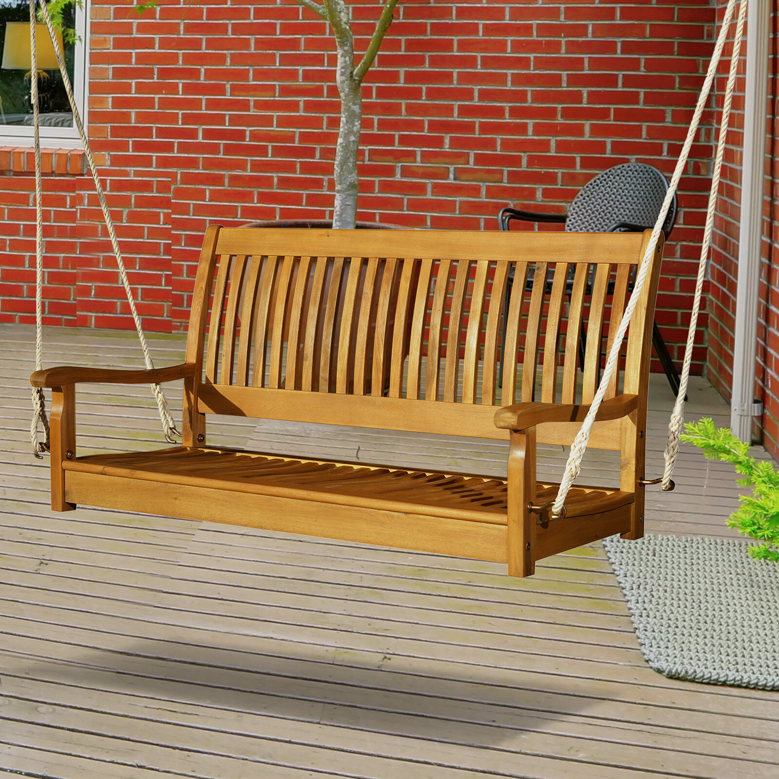Craney 2 Person Hanging Porch Swing With Regard To 2 Person Light Teak Oil Wood Outdoor Swings (View 9 of 25)