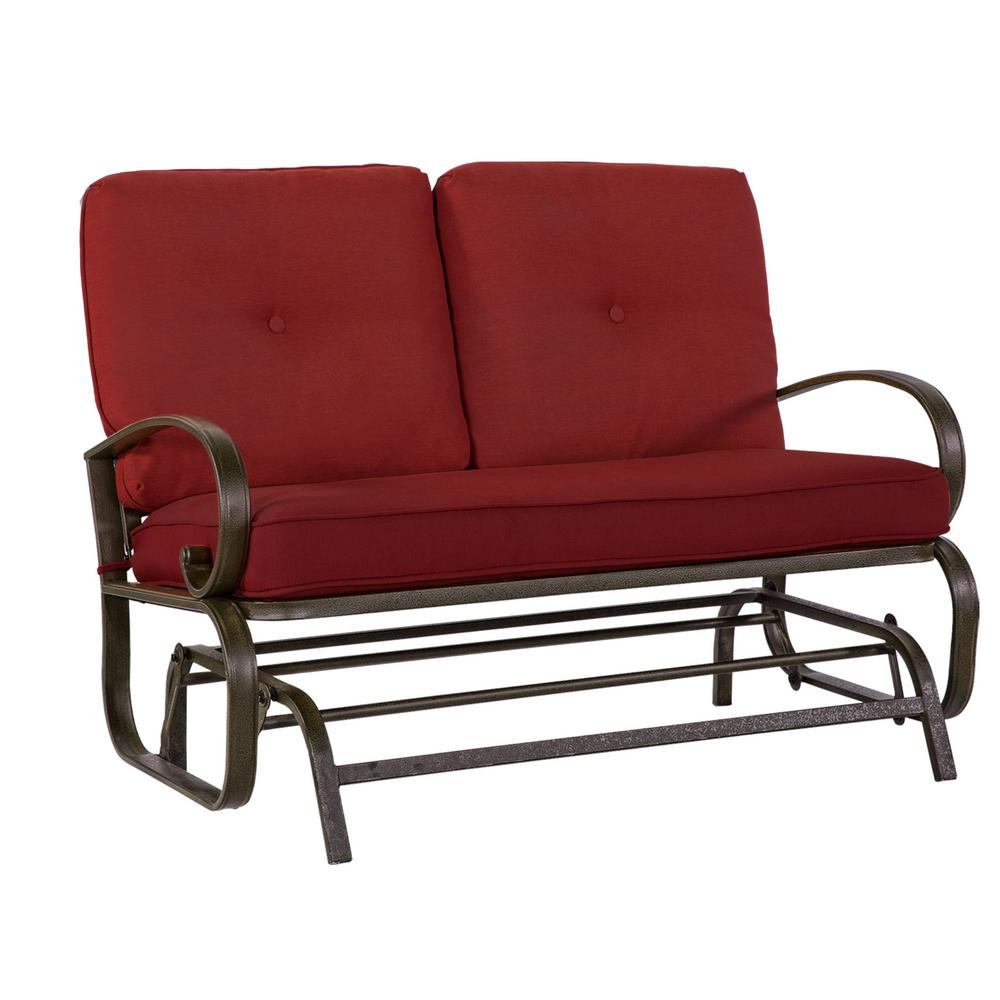 Crawford & Burke Leonard 2 Person Outdoor Loveseat Glider With Red Cushions Throughout Outdoor Loveseat Gliders With Cushion (View 2 of 25)