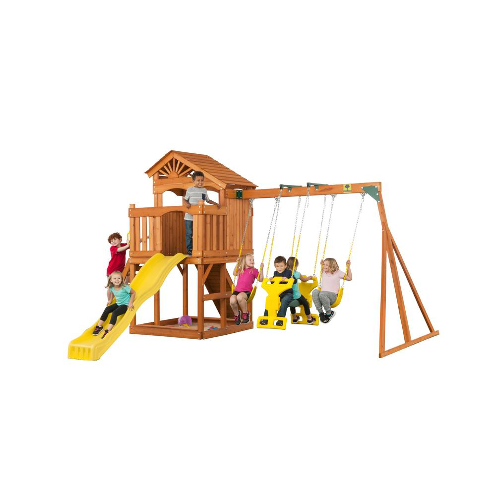 Creative Cedar Designs Timber Valley Swingset 3512 – The In Dual Rider Glider Swings With Soft Touch Rope (View 13 of 25)