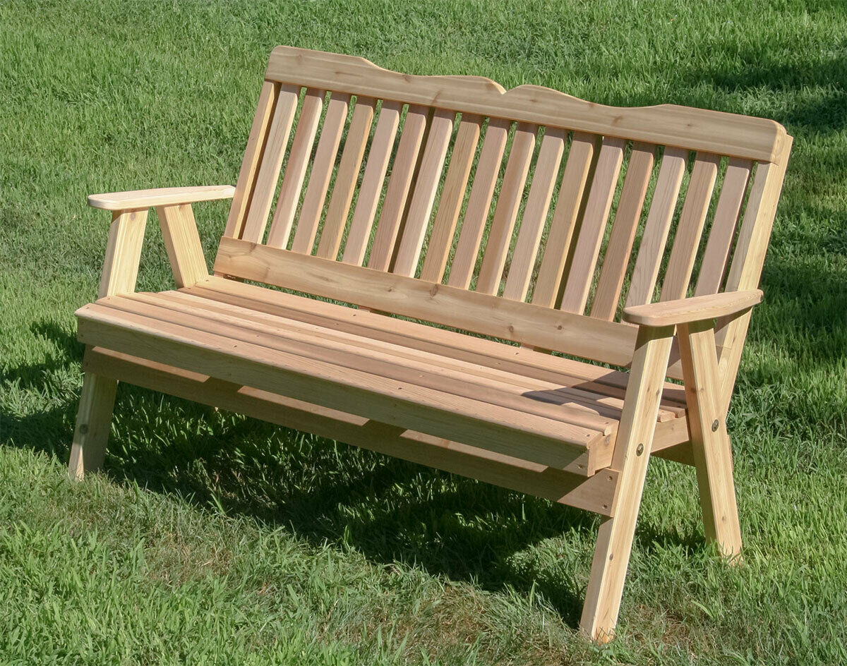 Creekvine Wooden Furniture Western Red Cedar Savannah English Garden Bench Within Traditional English Glider Benches (View 12 of 25)