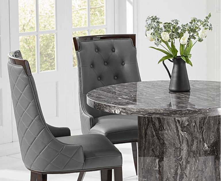 Crema Grey Round Marble Dining Table With Angelica Chairs With Regard To Frosted Glass Modern Dining Tables With Grey Finish Metal Tapered Legs (View 15 of 25)
