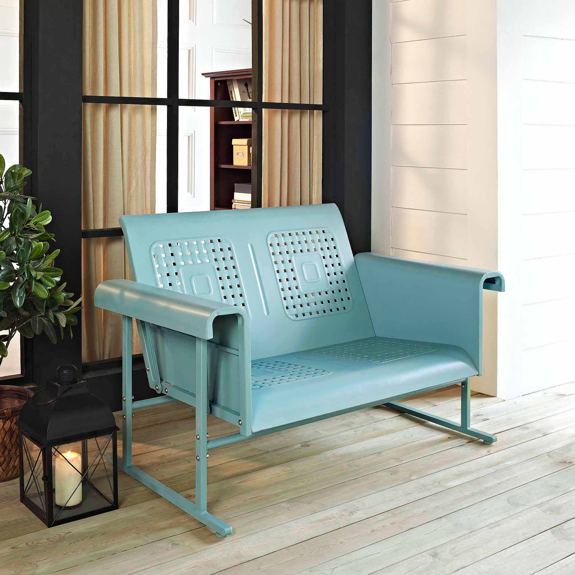 Crosley Furniture Veranda Loveseat Glider – Walmart Intended For Metal Retro Glider Benches (Image 2 of 25)