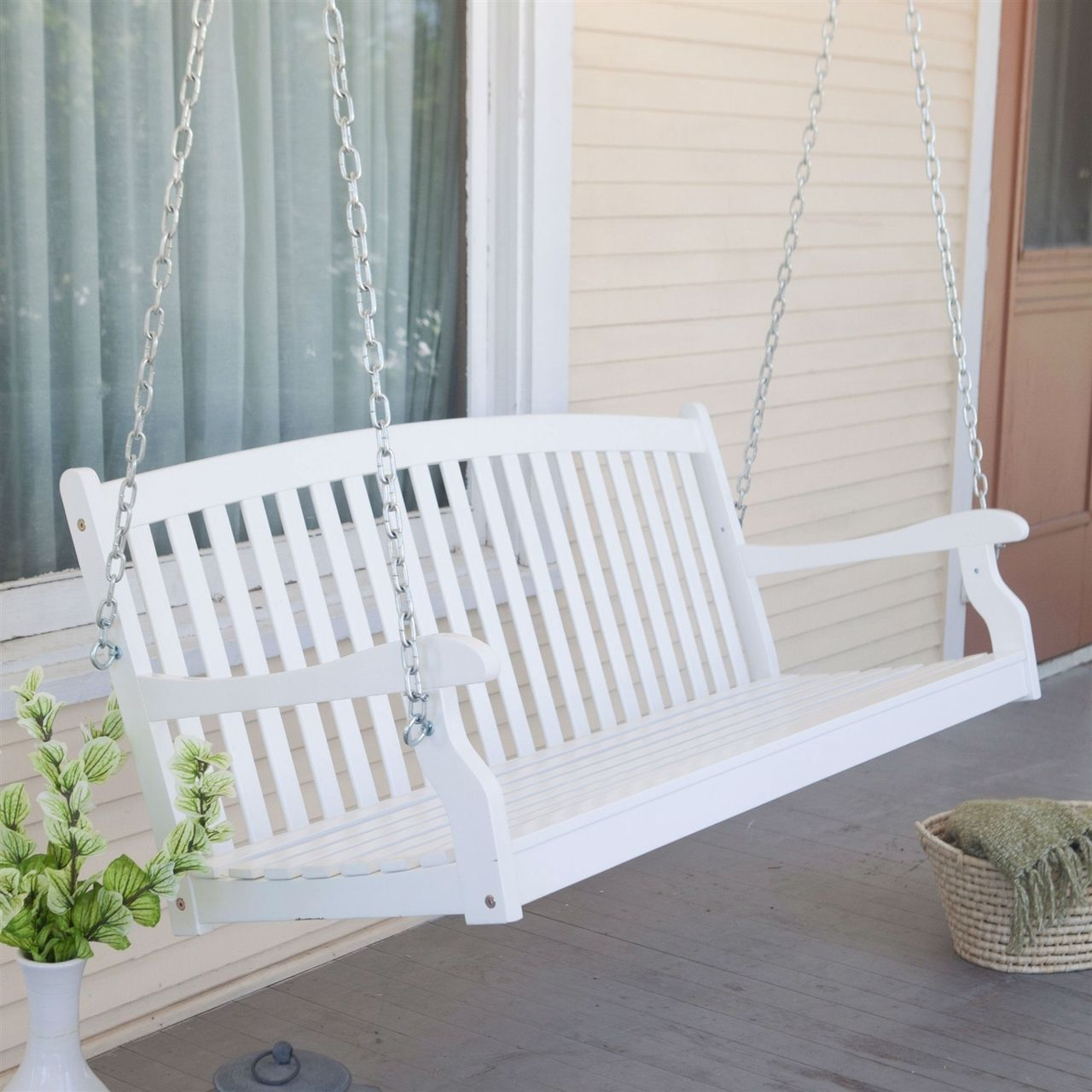 Curved Back 5 Ft Porch Swing, White Wood Finish, Comfort With Vineyard Porch Swings (Image 4 of 25)