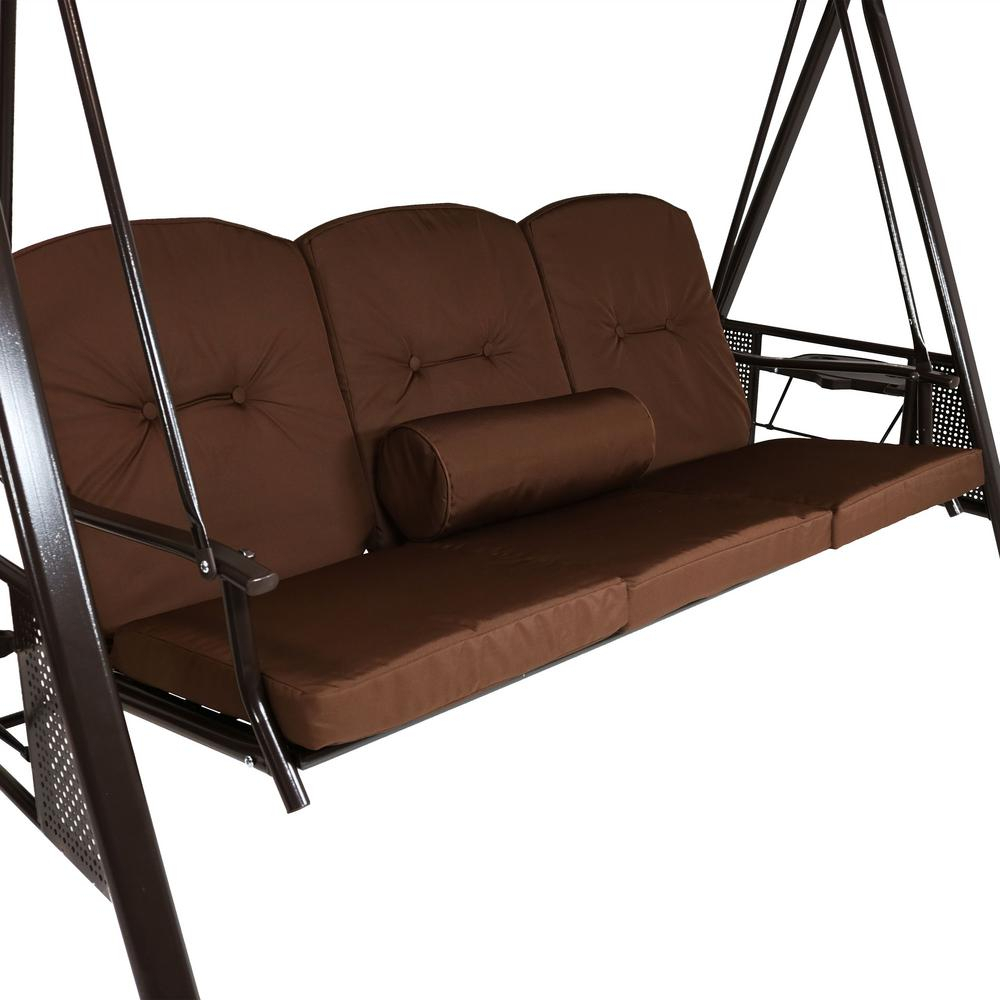 Cushions And Pillow Included Brown Durable Steel Metal Frame With 3 Person Brown Steel Outdoor Swings (View 10 of 25)