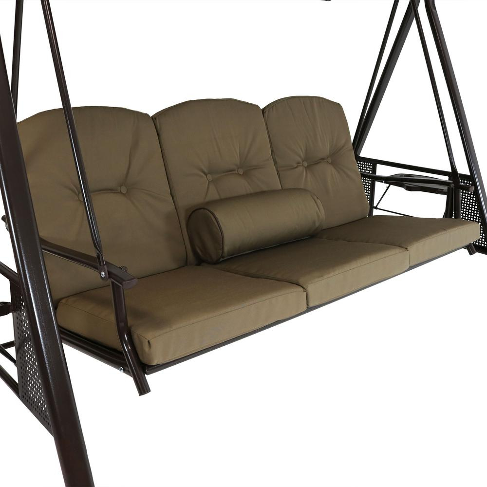 Cushions And Pillow Included Sunnydaze Outdoor Porch Swing With 2 Person Adjustable Tilt Canopy Patio Loveseat Porch Swings (Image 12 of 25)