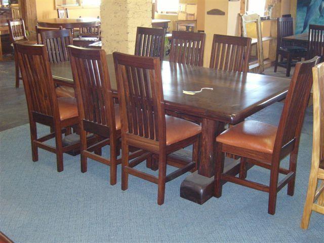 Custom 8 Seat Ironwood Dining Table Setafrican Yellowood Pertaining To Iron Wood Dining Tables (View 7 of 25)