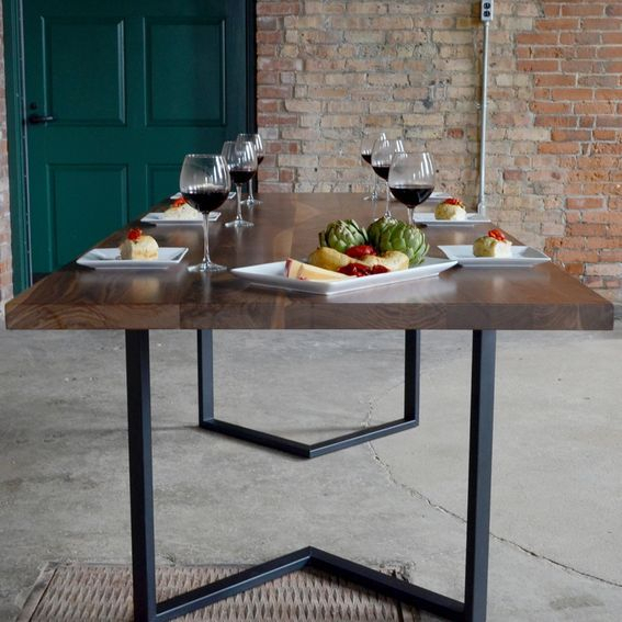 Custom Made Modern Walnut Dining Table With Black Steel With Dining Tables With Black U Legs (View 14 of 25)