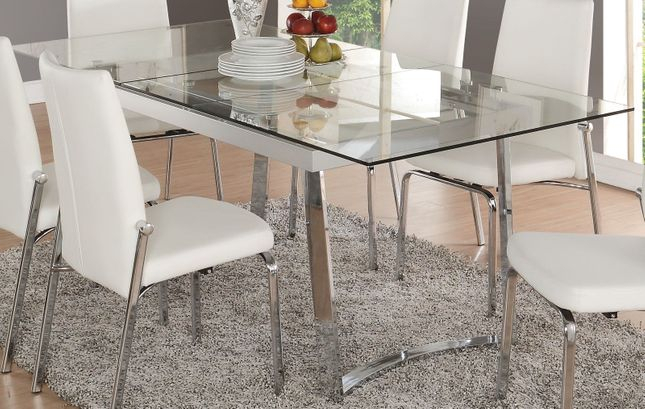"Cyrene Contemporary 63"" 79"" Tempered Glass Top Dining Table For Chrome Dining Tables With Tempered Glass (View 3 of 25)"