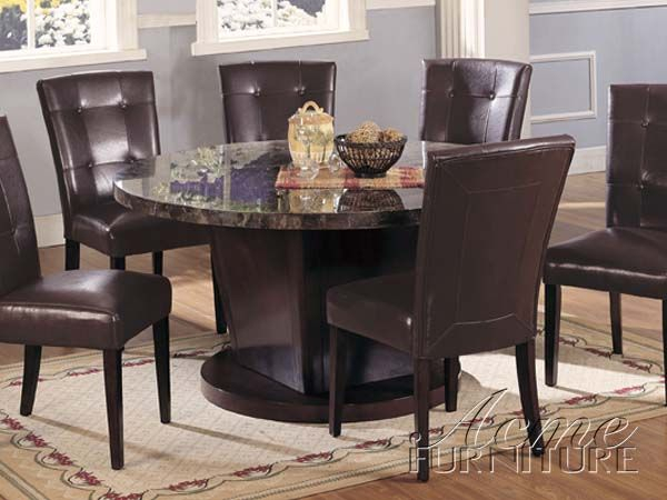 Danville Marble Top Dining Table Set 07003 Setacme Throughout Transitional Antique Walnut Drop Leaf Casual Dining Tables (View 6 of 25)