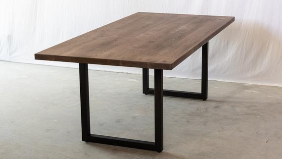Dark Dining Table With Square U Legs | Black Table Kitchen Table Designer Hardwood Table 0% Voc Finish Modern Conference Restaurant With Regard To Dining Tables With Black U Legs (View 9 of 25)