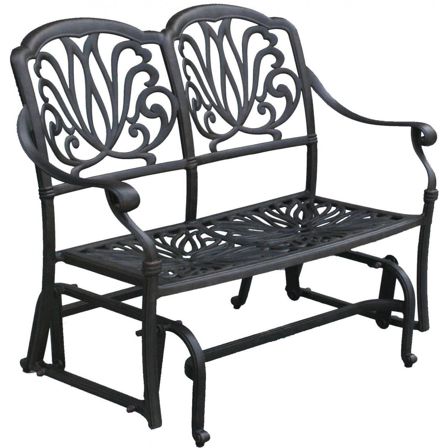 Darlee Elisabeth 2 Piece Cast Aluminum Patio Bench Glider Regarding Black Steel Patio Swing Glider Benches Powder Coated (Image 7 of 25)