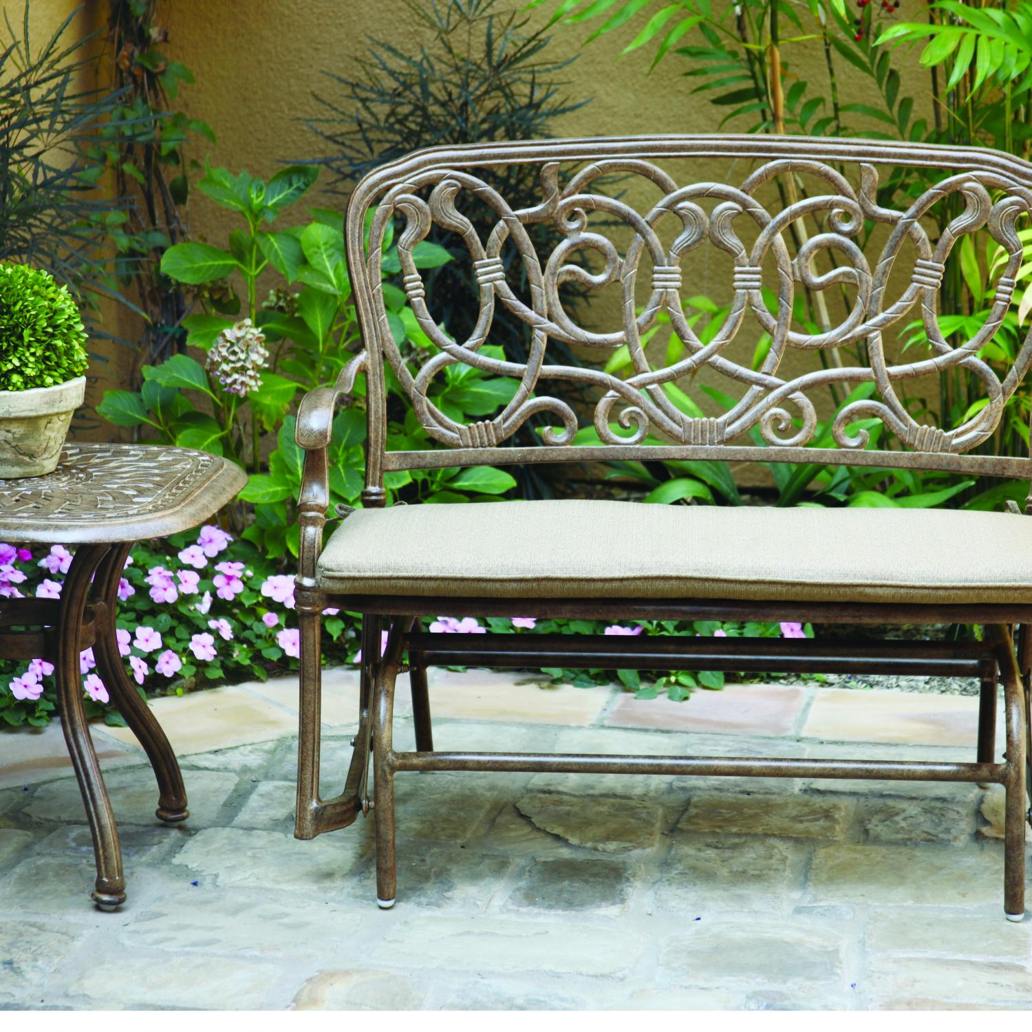 Darlee Florence 2 Piece Cast Aluminum Patio Bench Glider Conversation  Seating Set – Antique Bronze Inside 2 Person Antique Black Iron Outdoor Gliders (Image 8 of 25)