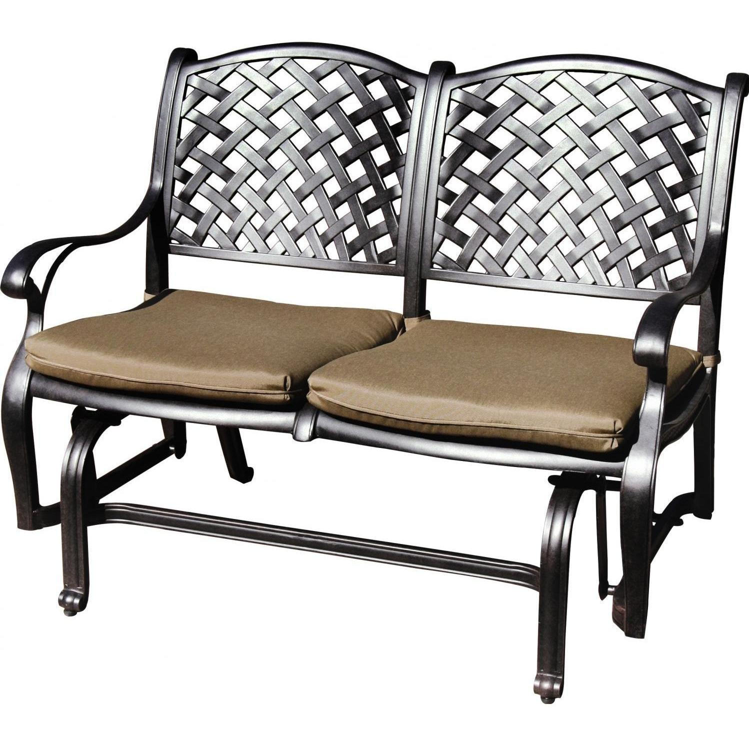 Darlee Nassau Cast Aluminum Patio Bench Glider Throughout Iron Double Patio Glider Benches (Image 7 of 25)
