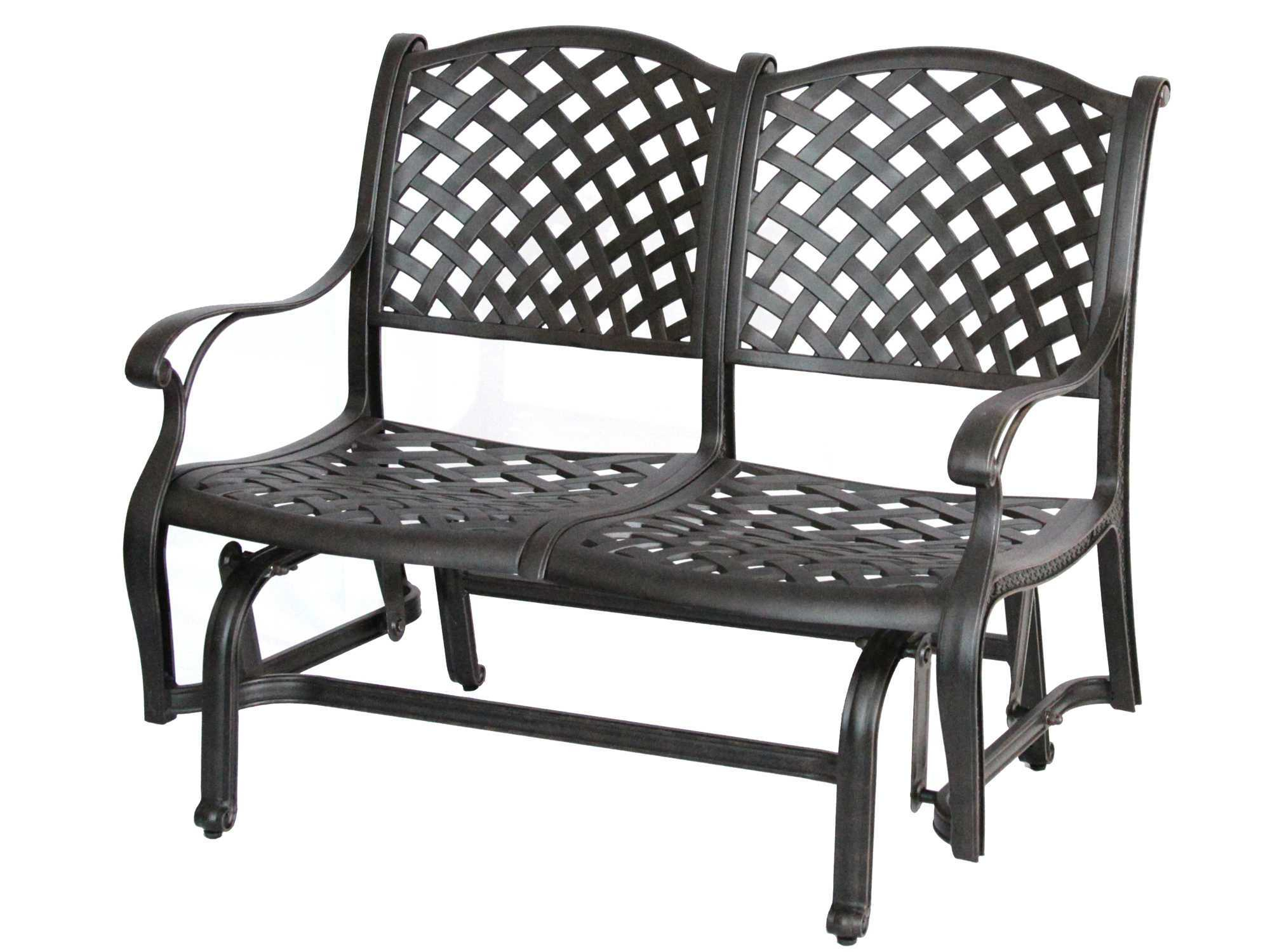 Darlee Outdoor Living Standard Nassau Cast Aluminum Antique Within Glider Benches With Cushions (View 23 of 25)