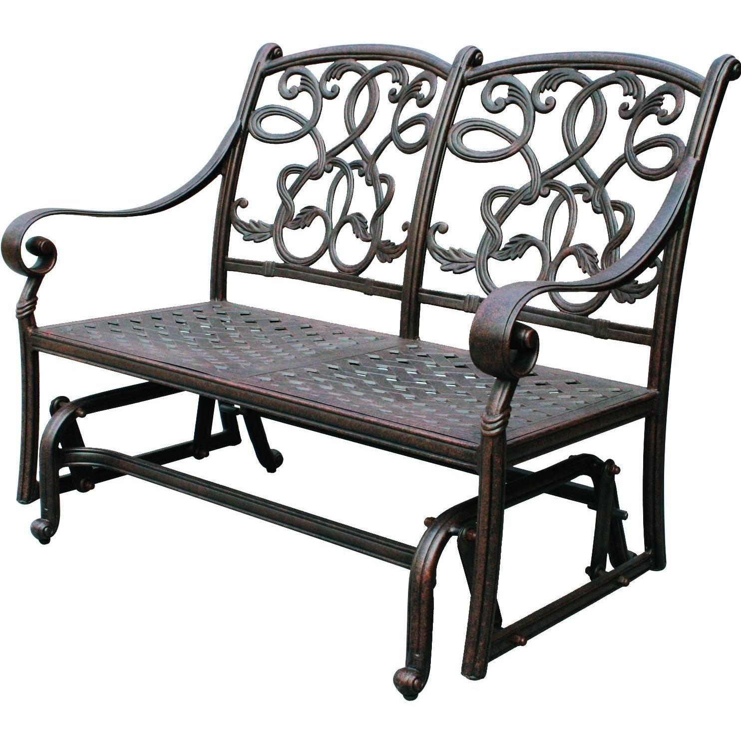 Darlee Santa Monica Cast Aluminum Patio Loveseat Glider For 1 Person Antique Black Steel Outdoor Gliders (View 6 of 25)