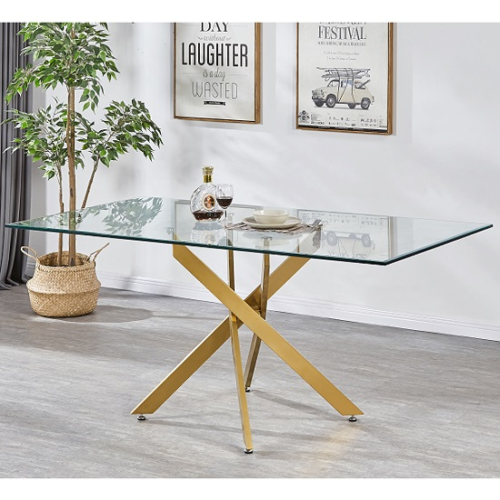 Daytona Clear Glass Large Dining Table With Brushed Gold Base Intended For Dining Tables With Brushed Gold Stainless Finish (Image 15 of 25)