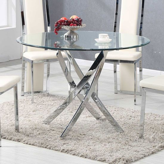 Daytona Dining Table Round In Clear Glass With Chrome Legs Intended For Chrome Contemporary Square Casual Dining Tables (View 5 of 25)