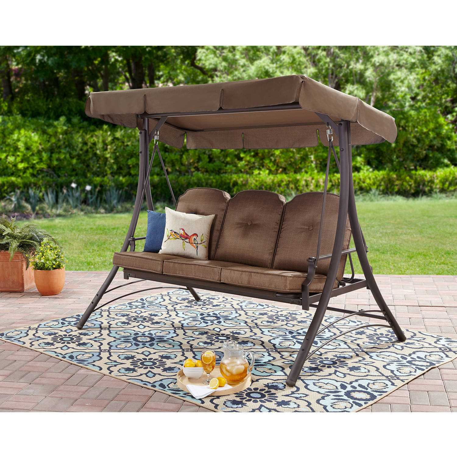 Deals & Coupons | Get Mainstays Wentworth 3 Person Cushioned Inside 3 Person Brown Steel Outdoor Swings (View 11 of 25)