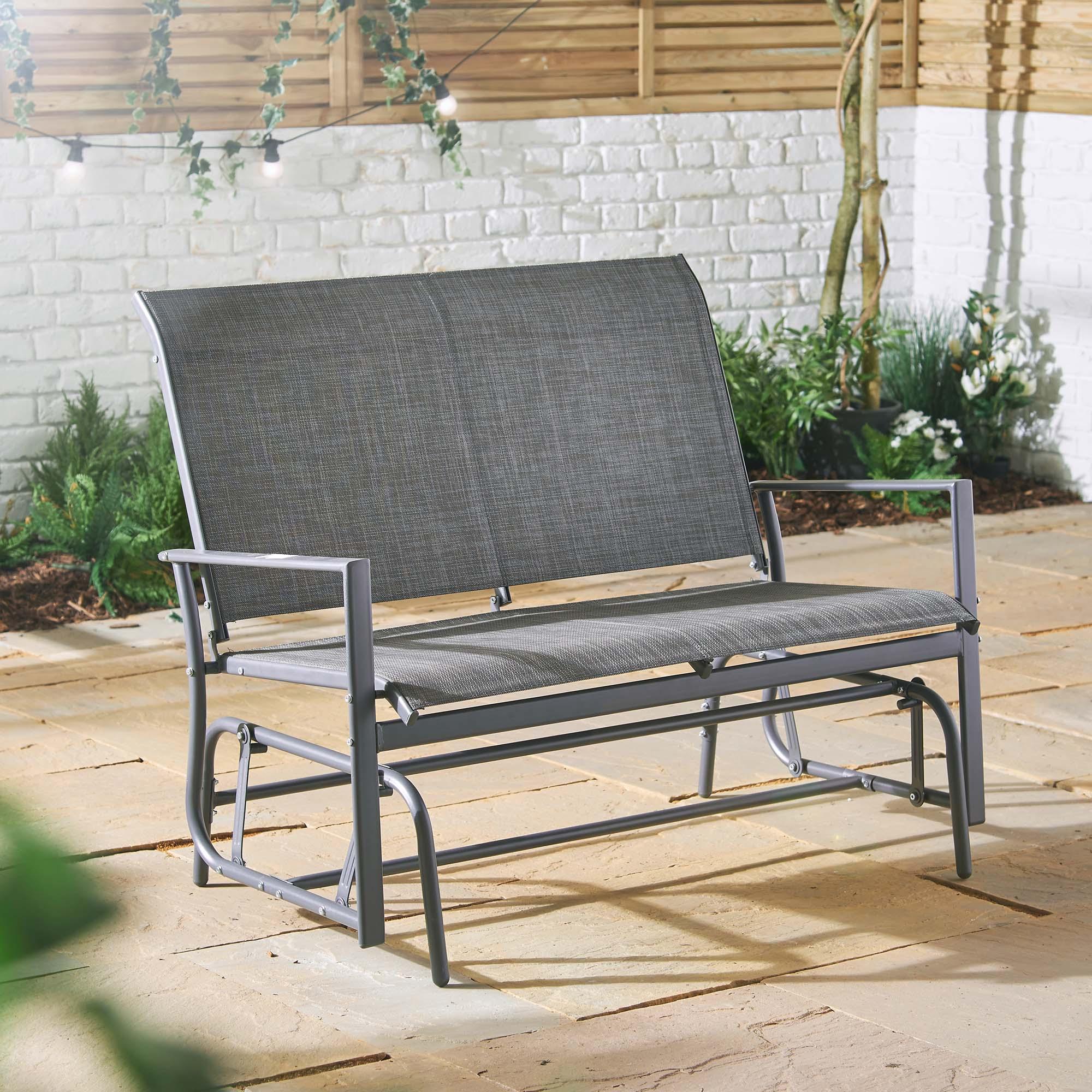 Decking Patio Grey Balcony Vonhaus Seater Garden Glider With Outdoor Fabric Glider Benches (View 6 of 25)
