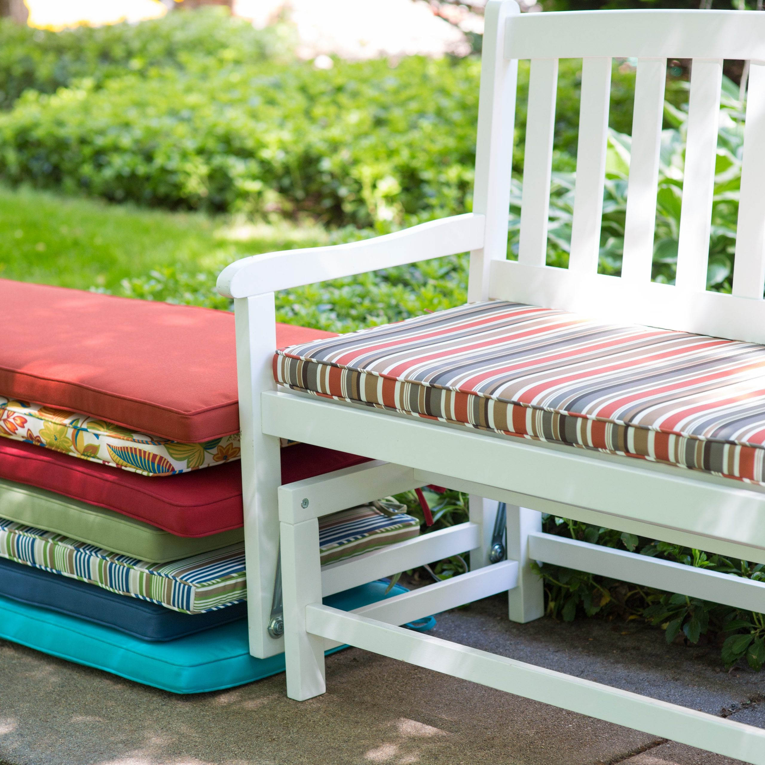 Decorating: Your Porch And Patio Never Been The Same With With Regard To Glider Benches With Cushion (Image 9 of 25)