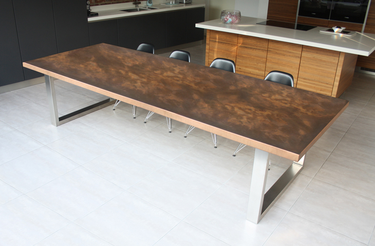 Design & Décor: Copper Tables And Furnishings In Top London For Dining Tables With Brushed Stainless Steel Frame (View 25 of 25)