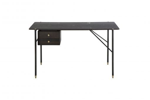 Desk With Drawersdi Designs From The Broughton Range In In Dining Tables In Seared Oak With Brass Detail (View 16 of 25)