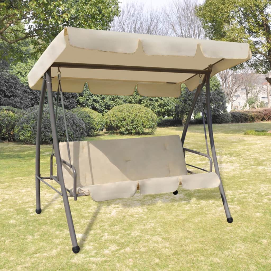 Details About 3 Person Outdoor Swing Chair / Bed With Canopy Sand Patio  Porch Bed Backyard New Within Patio Gazebo Porch Canopy Swings (View 17 of 25)