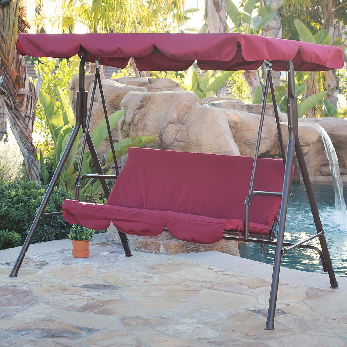 Details About 3 Person Steel Outdoor Patio Porch Swing Chair With Stand And Canopy Rocker Regarding Porch Swings With Canopy (View 5 of 25)