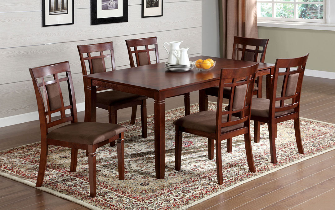 """Details About Balsa I Transitional Dark Cherry 7Pc 60""""casual Dining Set Microfiber Seats,brown Regarding Transitional 6 Seating Casual Dining Tables (View 10 of 25)"""