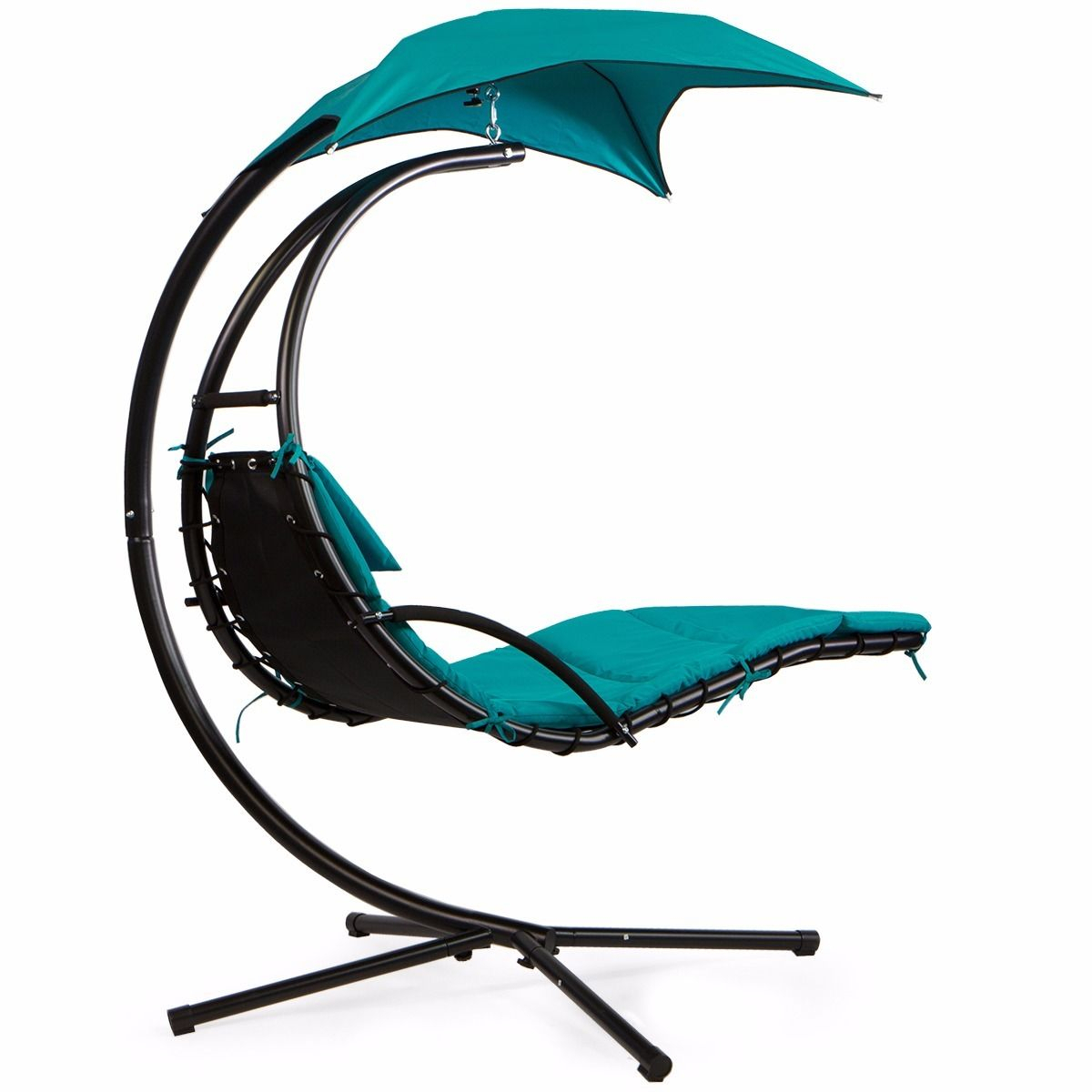 Details About Barton Patio Hanging Helicopter Dream Lounger Chair Stand Swing Hammock Chair Within Outdoor Pvc Coated Polyester Porch Swings With Stand (View 25 of 25)