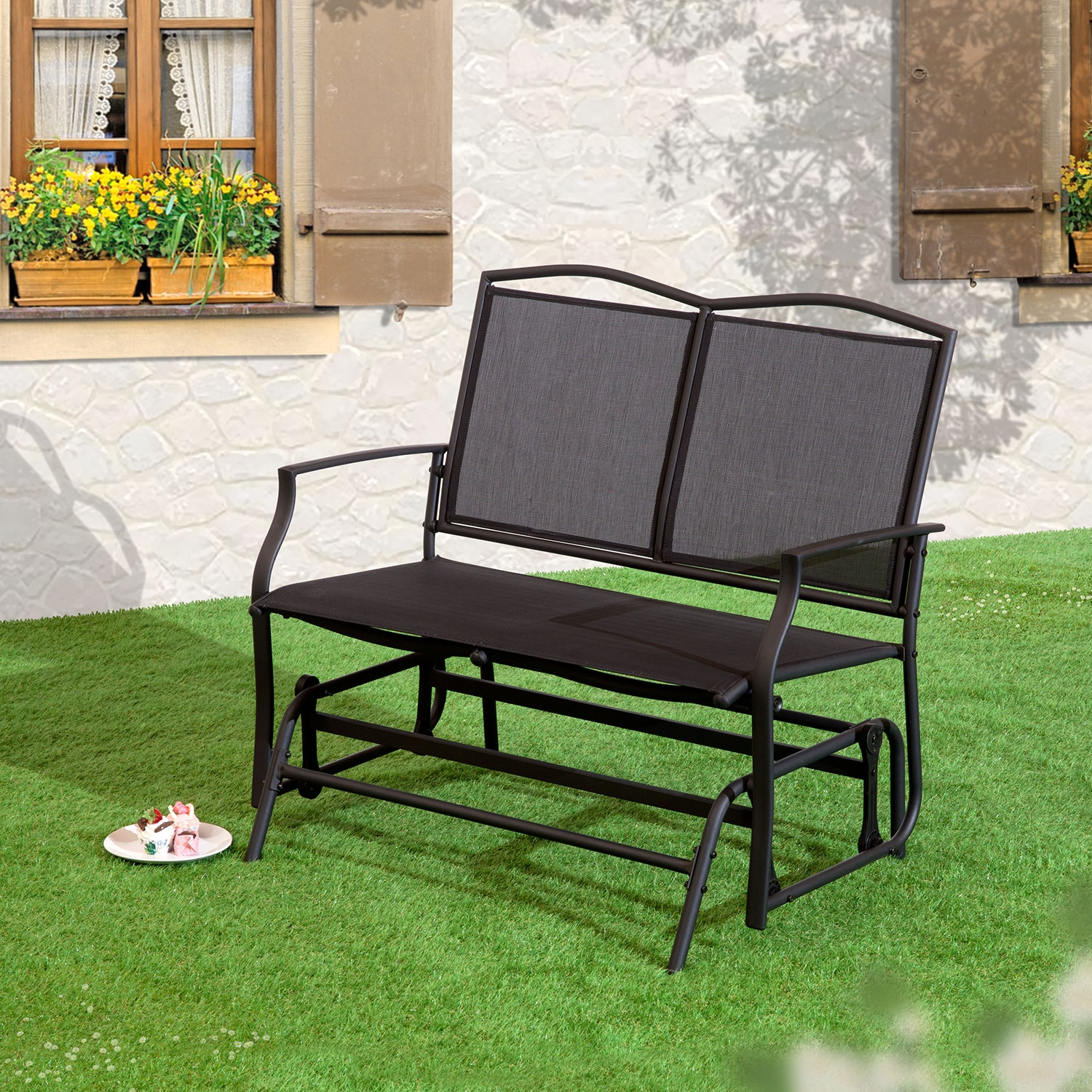 Details About Black 2 Seat Glider Bench For Twin Seat Glider Benches (View 4 of 25)