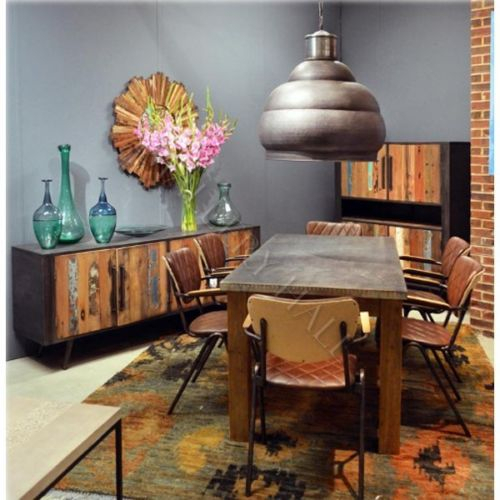 Details About Block Leg Wood Base Galvanized Metal Top Dining Table–Custom  Size Available Pertaining To Acacia Wood Dining Tables With Sheet Metal Base (Image 3 of 25)
